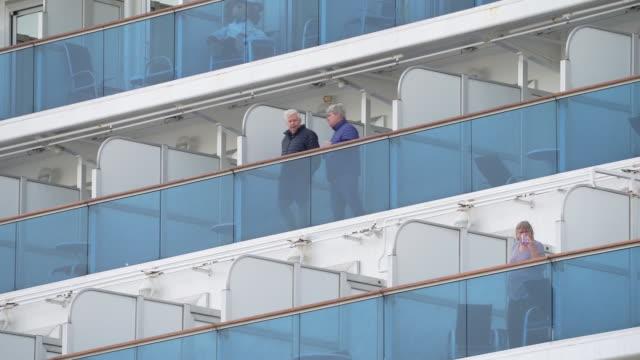 tourists stuck on diamond princess cruise ship after discover of another cases of coronavirus on board yokohama kanagawa japan on friday febuary 7... - cruise stock videos & royalty-free footage