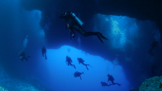 tourists take underwater diving in blue hole, palau - scuba diving stock videos & royalty-free footage