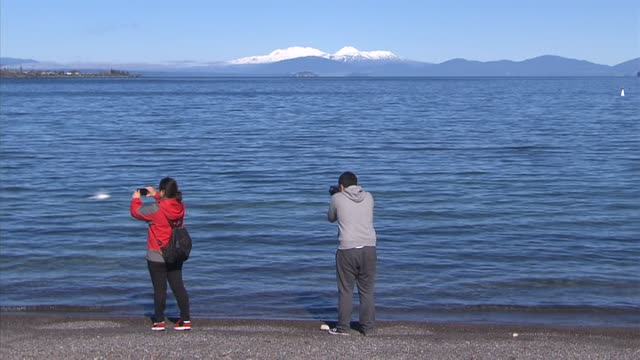Tourists taking photographs at shore of Lake Taupo with snow capped mountains seen across water