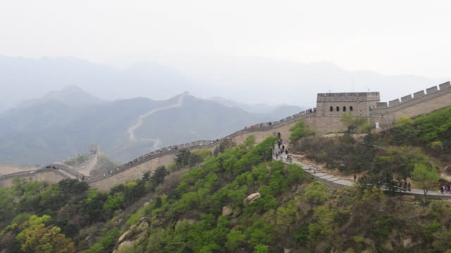 Tourists use a sidewalk to wlak to and from a sentry station on The Great Wall at Badaling.