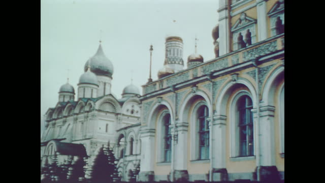 1959 tourists view churches turned into museums inside the kremlin walls - 1950 1959 stock videos and b-roll footage