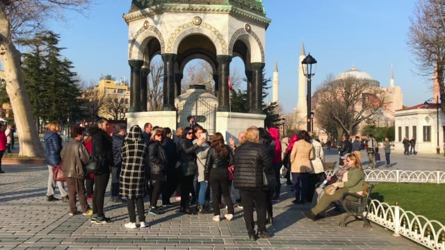 tourists view the german fountain in istanbul's sultanahmet district on march 9 2018 in istanbul turkey - sultanahmet district stock videos and b-roll footage