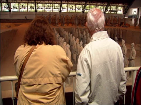 tourists viewing rows of terracotta warriors on display, museum of qin, xian, china - terrakotta armee stock-videos und b-roll-filmmaterial