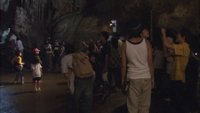 tourists visit akiyoshi cave and admire the stalactites. - besichtigung stock-videos und b-roll-filmmaterial