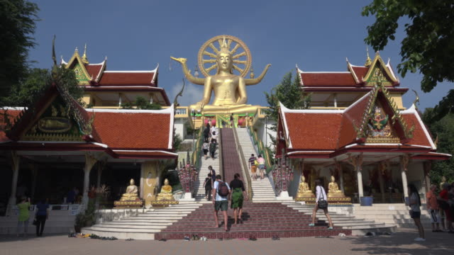 Tourists visit Big Buddha statue at Wat Phra Yai temple