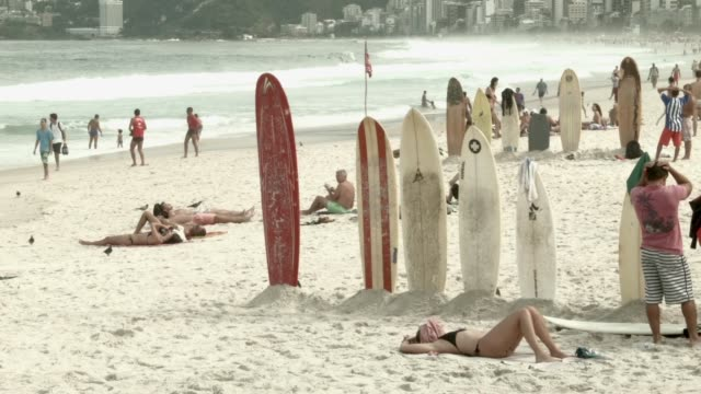 tourists visit copacabana beach during the fifa 2014 world cup, shot on the 21st of june, 2014. - ゴールを狙う点の映像素材/bロール