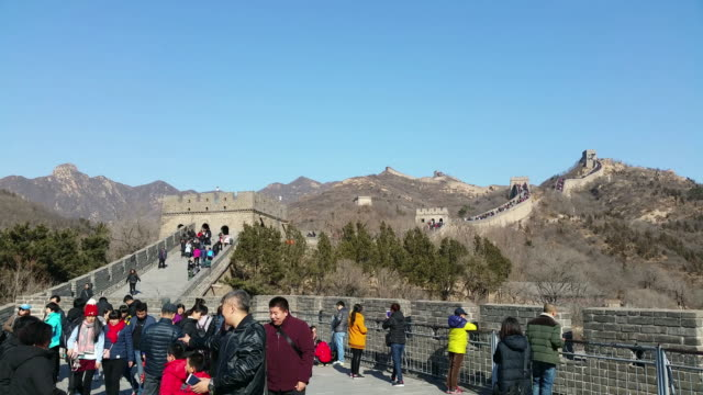 tourists visit famous badaling great wall on feb 18 2017 in beijing china - badaling stock videos & royalty-free footage