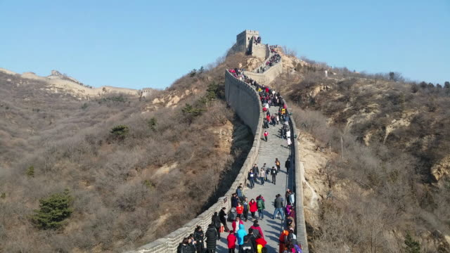 Tourists visit famous Badaling Great Wall on Feb 18 2017 in Beijing China