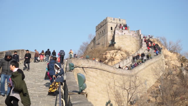 tourists visit famous badaling great wall on feb 18 2017 in beijing china - badaling great wall stock videos & royalty-free footage