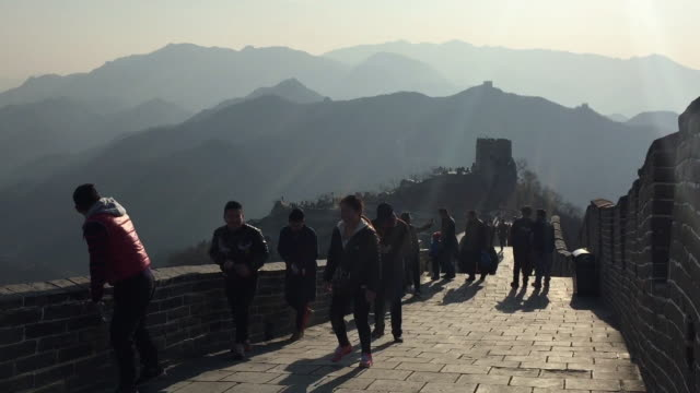 tourists visit famous badaling great wall on feb 18 2017 in beijing china - badaling stock videos and b-roll footage