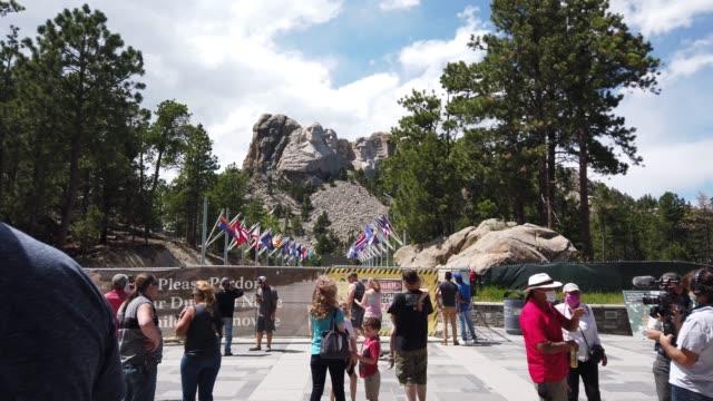 tourists visit mount rushmore national monument on july 01 2020 in keystone south dakota - south dakota stock videos & royalty-free footage