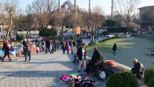 tourists visit the blue mosque in istanbul's sultanahmet district on march 9 2018 in istanbul turkey - sultanahmet district stock videos and b-roll footage