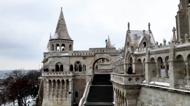 Tourists visit the Fisherman's Bastion on January 20 2019 in Budapest Hungary Over the past months thousands of Hungarians have turned out in the...