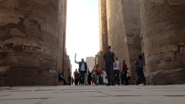 tourists visit the karnak temple complex in egypt's southern city of luxor where residents fear that the outbreak of the deadly novel coronavirus... - egypt stock videos & royalty-free footage