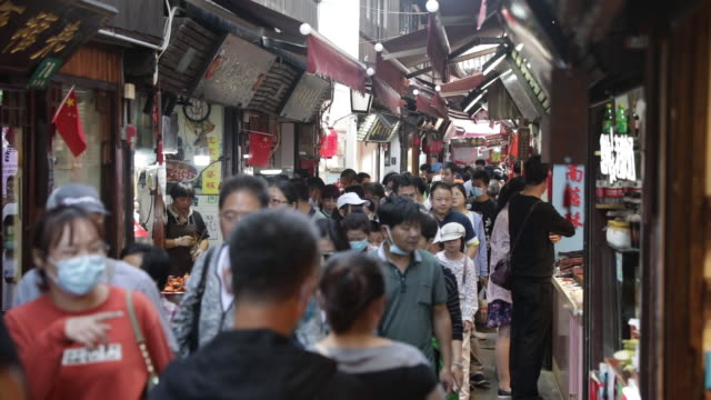 tourists visiting alleys, bridges and canals of the zhujiajiao water town on the outskirts of shanghai, china during national day holiday, on monday,... - trauerweide stock-videos und b-roll-filmmaterial