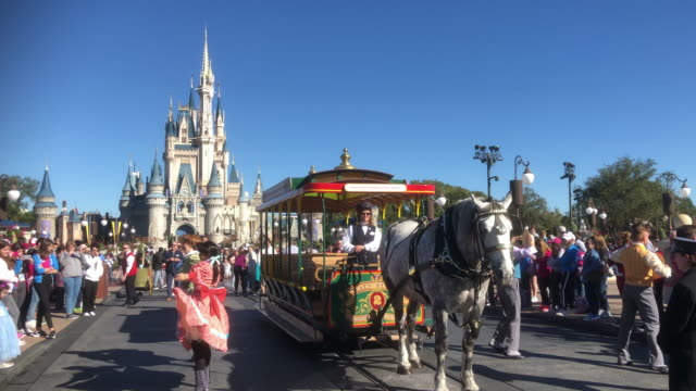 tourists visiting disney's magic kingdom in orlando florida - privatfahrzeug stock-videos und b-roll-filmmaterial