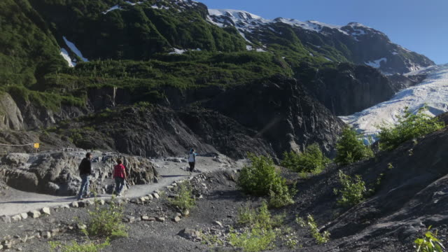 tourists visiting exit glacier in alaska - anchorage alaska stock videos & royalty-free footage