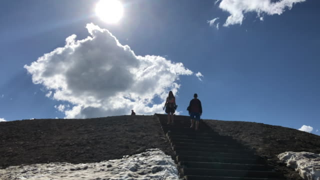 tourists visiting grand teton area in wyoming, usa. tourists walking down the steps. - grand teton stock videos & royalty-free footage