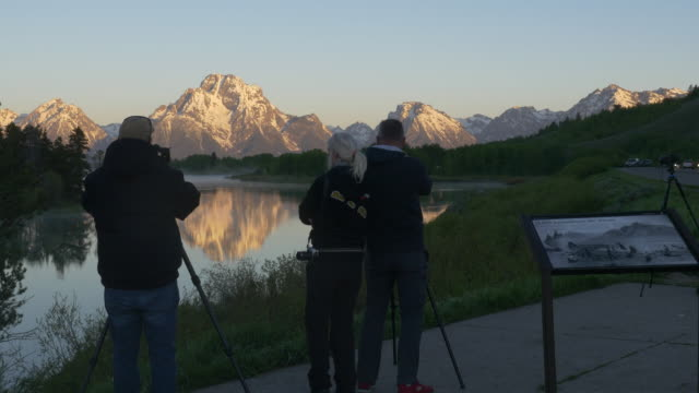 tourists visiting grand teton area in wyoming, usa. - grand teton stock videos & royalty-free footage