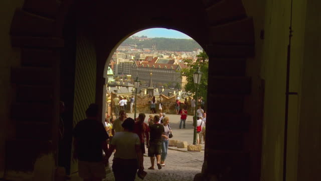 ws zi tourists visiting hradcany castle / prague, czech republic - hradcany castle stock videos and b-roll footage