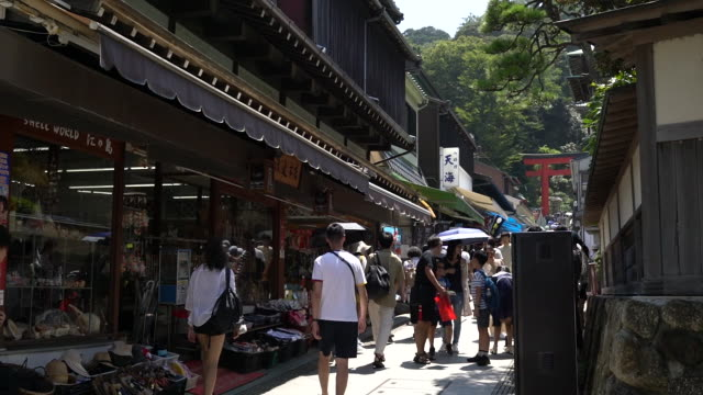 tourists visiting kamakura and enoshima on saturday august 17 2019 - 訪問点の映像素材/bロール
