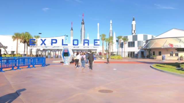 tourists visiting nasa space center - kennedy space center stock-videos und b-roll-filmmaterial