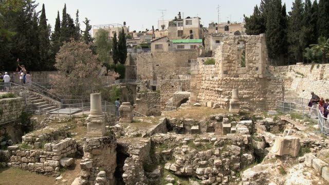 ws tourists visiting pool of bethesda in muslim quarter / jerusalem, israel - old ruin stock videos & royalty-free footage