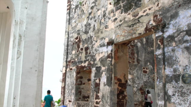 tourists visiting st. paul's church at the st. paul's hill in malacca, malaysia - malacca stock videos and b-roll footage