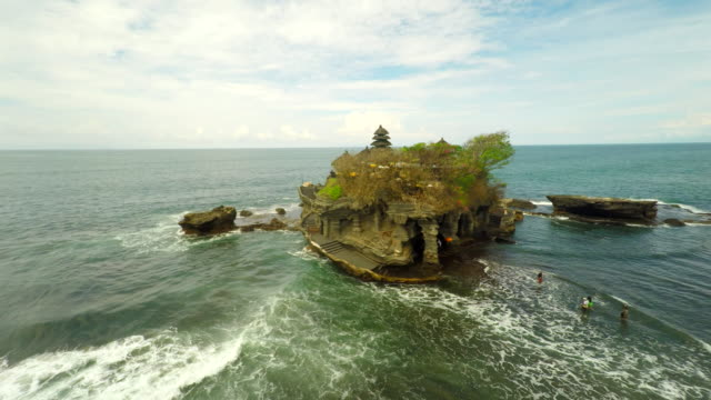 AERIAL Tourists Visiting Tanah Lot Temple