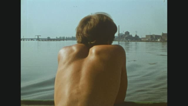 tourists visiting the harbour of stralsund at the baltic sea / young woman at the rear of the ship / young man with naked upper part of the body /... - animal body part点の映像素材/bロール
