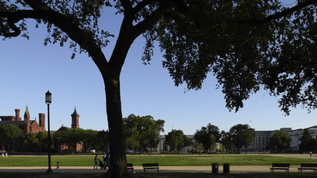 tourists visiting the national mall walk past the smithsonian castle. - the castle stock videos and b-roll footage