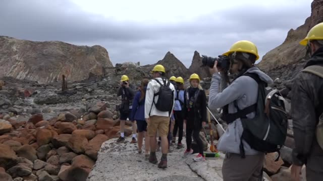 tourists visiting white island active cone volcano in sea off whakatane bay of plenty new zealand - tectonic stock videos & royalty-free footage