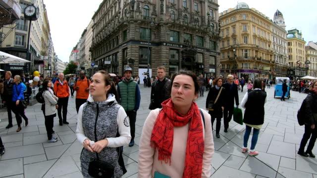 Tourists walk along the Graben street in Vienna. Austria.