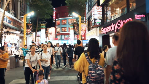 tourists walk and visit the crowded street in central of taipei. taiwan - taipei stock videos & royalty-free footage
