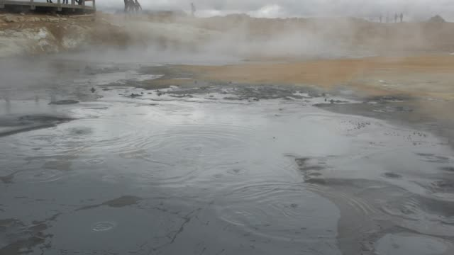 tourists walking among the steam vents in hverir, iceland - sulphur stock videos & royalty-free footage