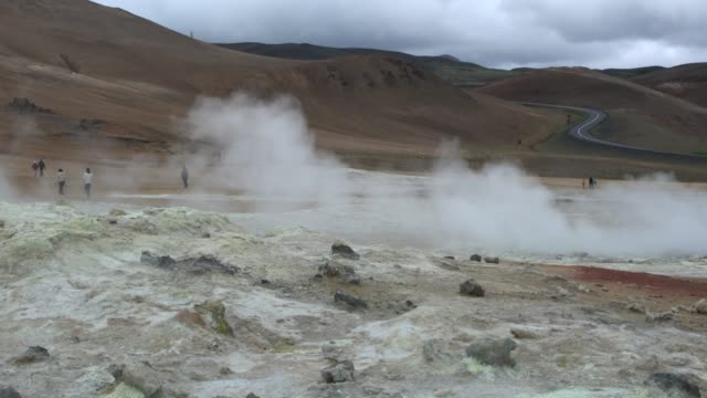 tourists walking among the steam vents in hverir, iceland - pavel gospodinov stock videos & royalty-free footage