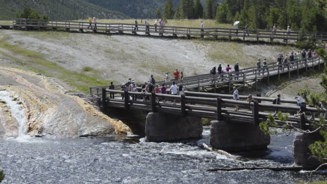 ws tourists walking at midway geyser basin on walkway at yellowstone national park / yellowstone national park, wyoming, united states - old faithful stock videos & royalty-free footage