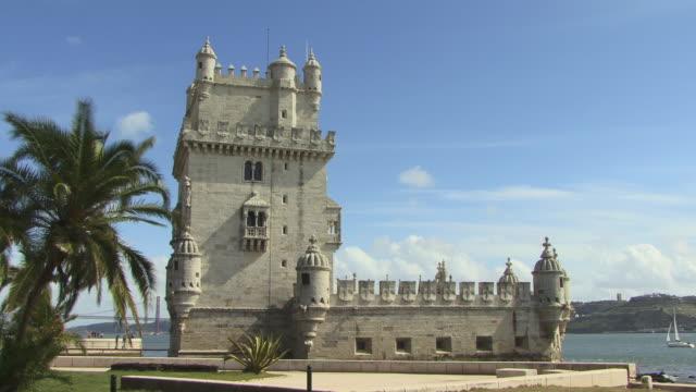 LA WS Tourists walking near Torre de Belem / Lisbon, Portugal