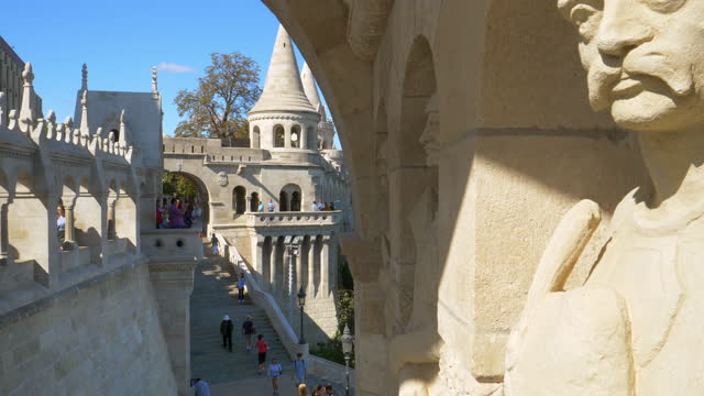 tourists walking on budapest fishermen's bastion - eastern european culture stock videos & royalty-free footage