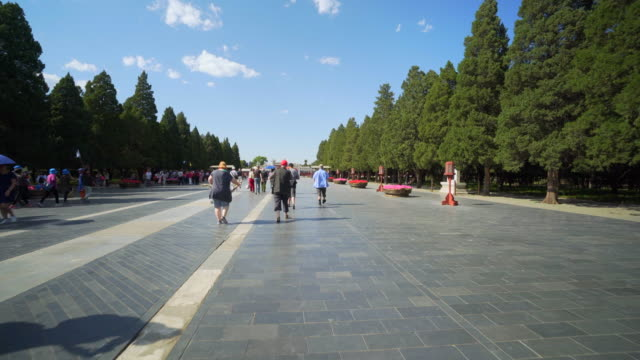 tourists walking on footpath amidst trees at temple of heaven - beijing, china - temple of heaven stock videos & royalty-free footage