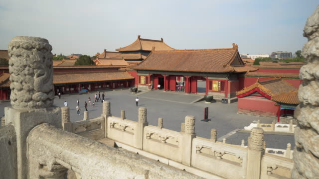 tourists walking on footpath by traditional buildings in forbidden city against sky - beijing, china - forbidden city stock videos & royalty-free footage