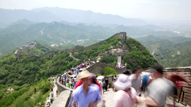 tourists walking on great wall at badaling - great wall of china stock videos & royalty-free footage