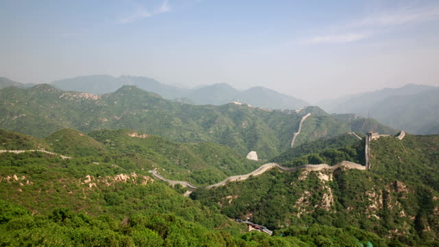 tourists walking on great wall at badaling - badaling stock videos and b-roll footage