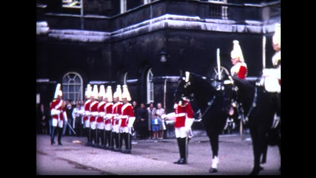 1966 tourists watching British Horse Guards