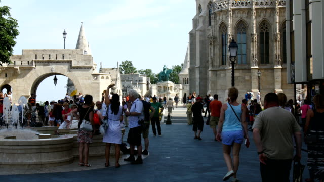 Tourists watching Budapest near Fountain of the Fishing Children, Statue of Prince Eugene of Savoy, and Buda Castle