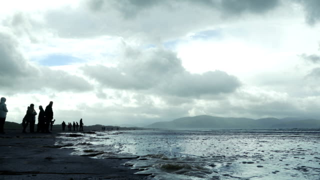 tourists watching the sea at inch beach on dingle peninsula - inch stock videos & royalty-free footage