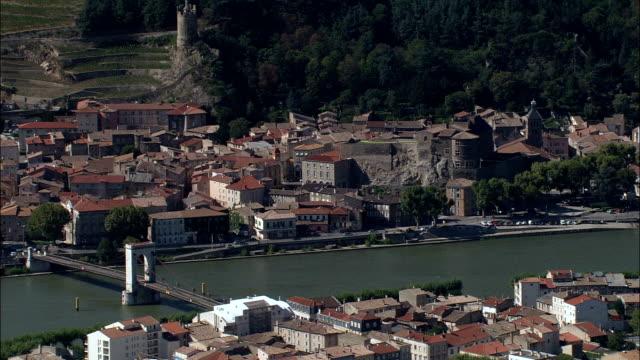 tournon-sur-rhone  - aerial view - rhône-alpes, ardèche, arrondissement de tournon, france - rhone alpes stock videos & royalty-free footage