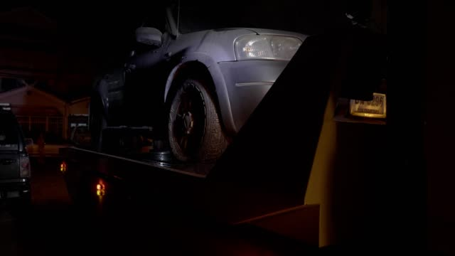 tow truck working on night. - pick up truck stock videos & royalty-free footage