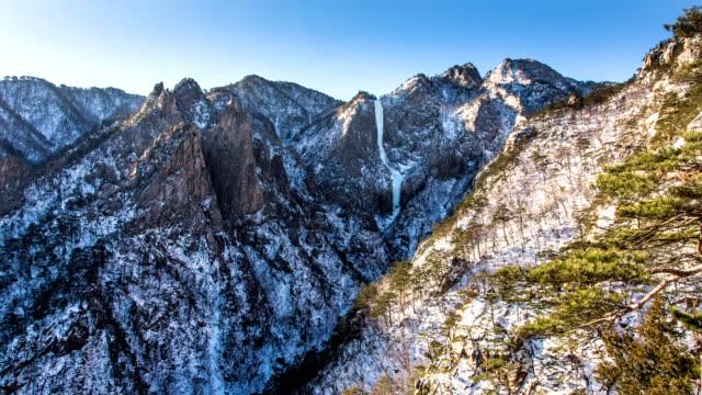 towangseong falls (famous scenic spot) in mt.seoraksan national park in winter - pinaceae stock videos & royalty-free footage