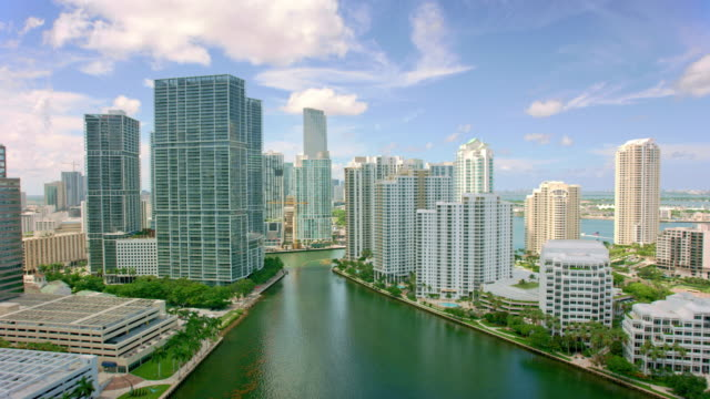 aerial towards downtown  from the brickell key in miami, florida - miami stock videos & royalty-free footage